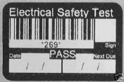 PAT Test Pass Labels with Barcode ID Numbered 1-300
